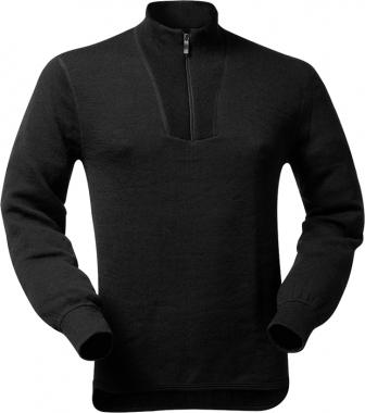 WoolPower Unterhemd Polo Unisex langarm - schwarz / M