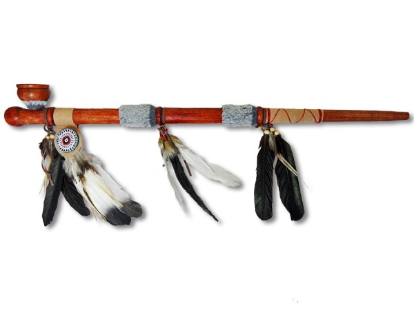 Indianer Friedenspfeife/Kalumet Federfächer 70cm