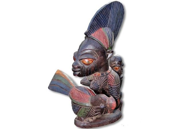Yoruba Ahnenstatue mit Kind und Orakelschale 50cm