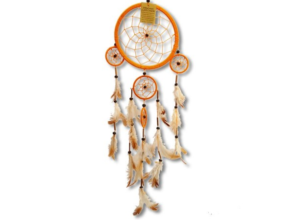 Dreamcatcher, Zwirn, orange, 60cm