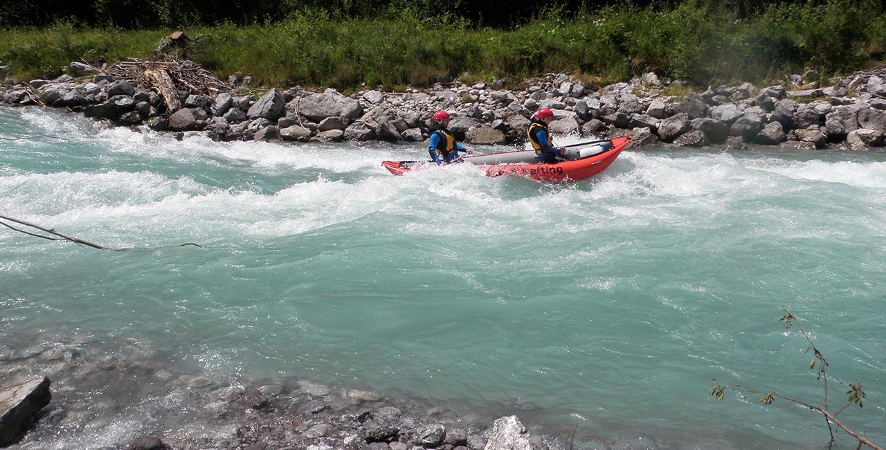 Canadier Tour auf dem Lech im Lechtal, Österreich