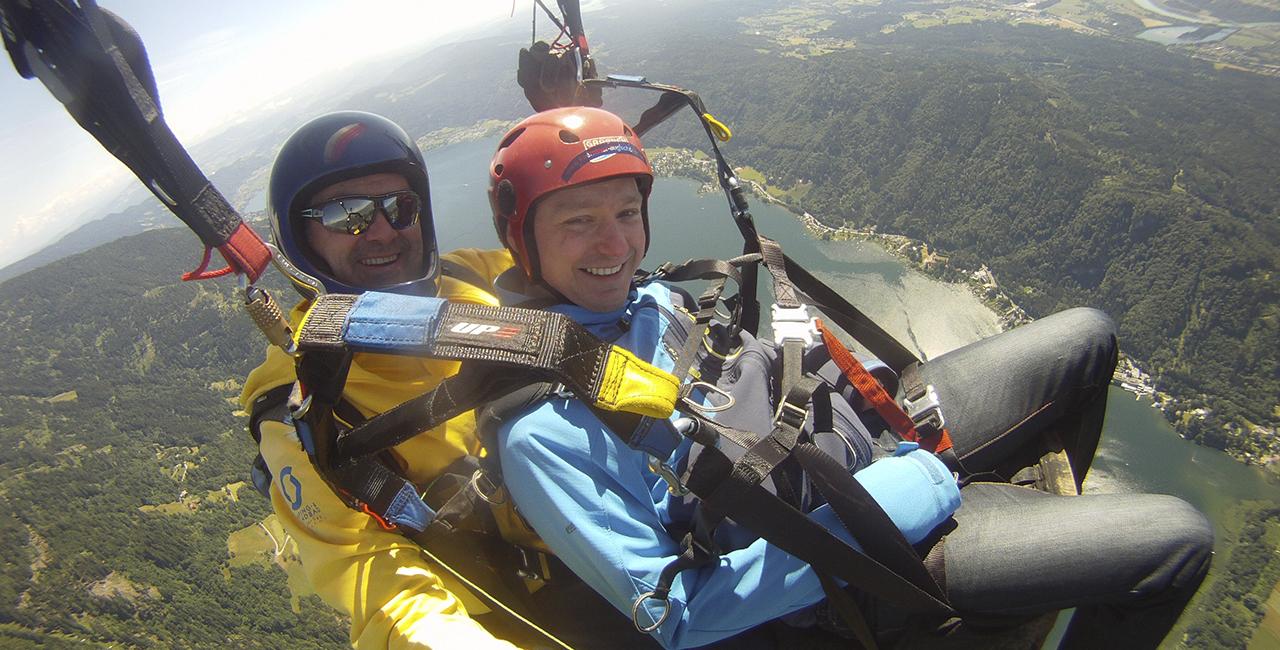 Gleitschirm-Tandemflug Actionflug in Bodensdorf, Kärnten