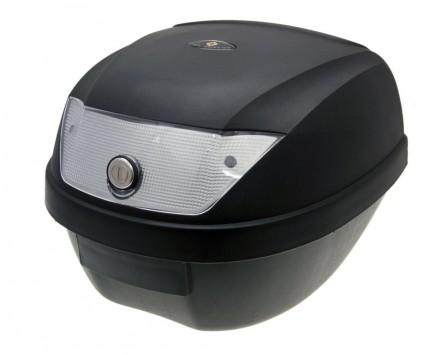Top Case Koffer schwarz 28L / Reflektor weiß