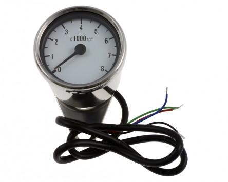 Drehzahlmesser D= 60mm, weiß/chrom, elektronisch, 8.000 U/min, Motorrad, rund