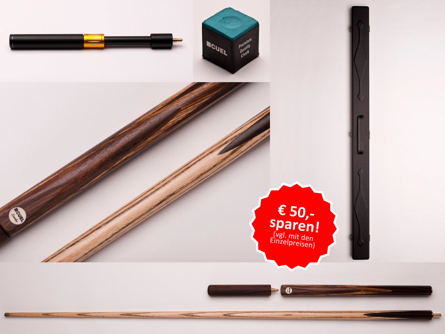 Snooker-Profiangebot: 1 Queue + 1 Koffer + Extension + 1 Stück Kreide