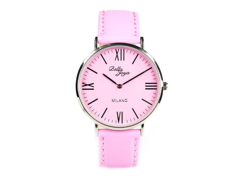 Milano, superflache Fashion-Uhr, Echtlederband rosa