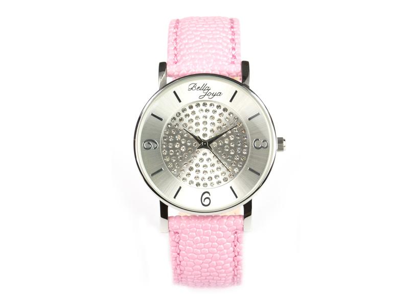 Lu, moderne Damen-Uhr, mit funkelnden Schmucksteinen, Rochen-Struktur-Echtlederband rosa