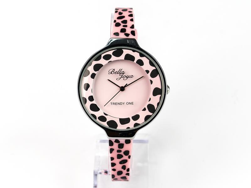 Trendy One, formschöne Modeuhr, Leopard rosa