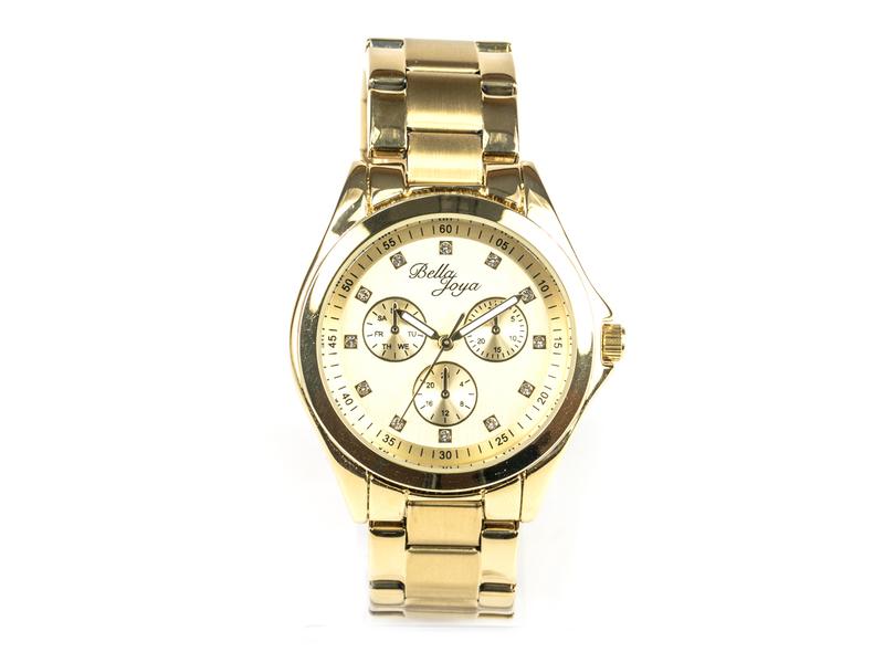 Venedig, edle Damen-Uhr, Zifferblatt gold & Edelstahlband gold