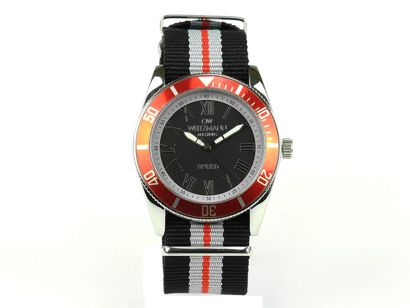 Speed, aktuelle Unisex Armband-Uhr, gestreiftes Natoband, rote Lünette
