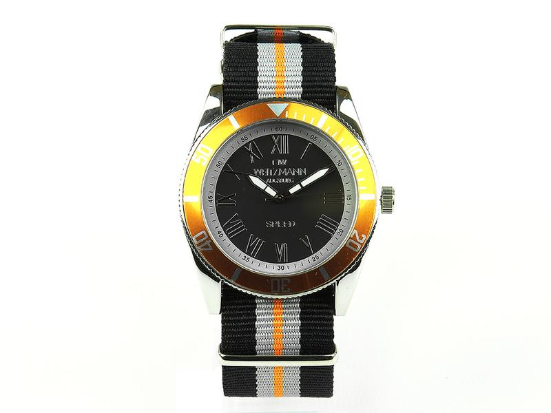 Speed, aktuelle Unisex Armband-Uhr, gestreiftes Natoband, gold Lünette