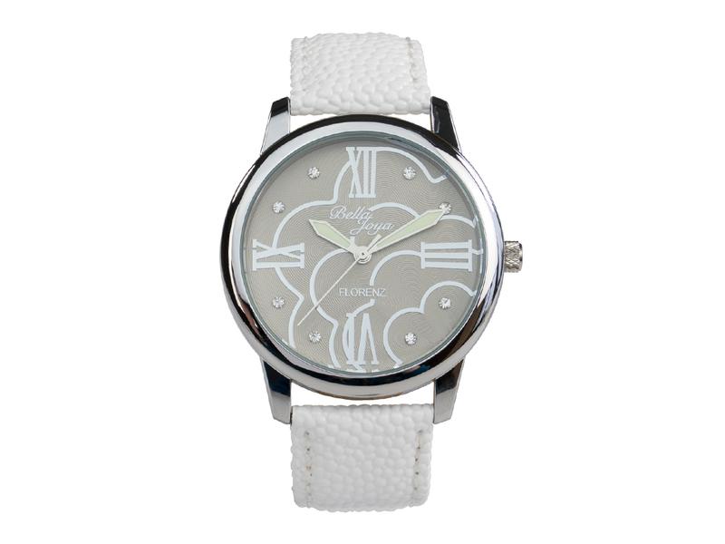 Florenz, modische Damen-Uhr, Echtlederband weiß