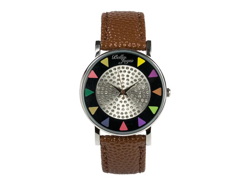 Ibiza schwarz, stylische Trend-Fashion-Uhr, Echtlederband braun
