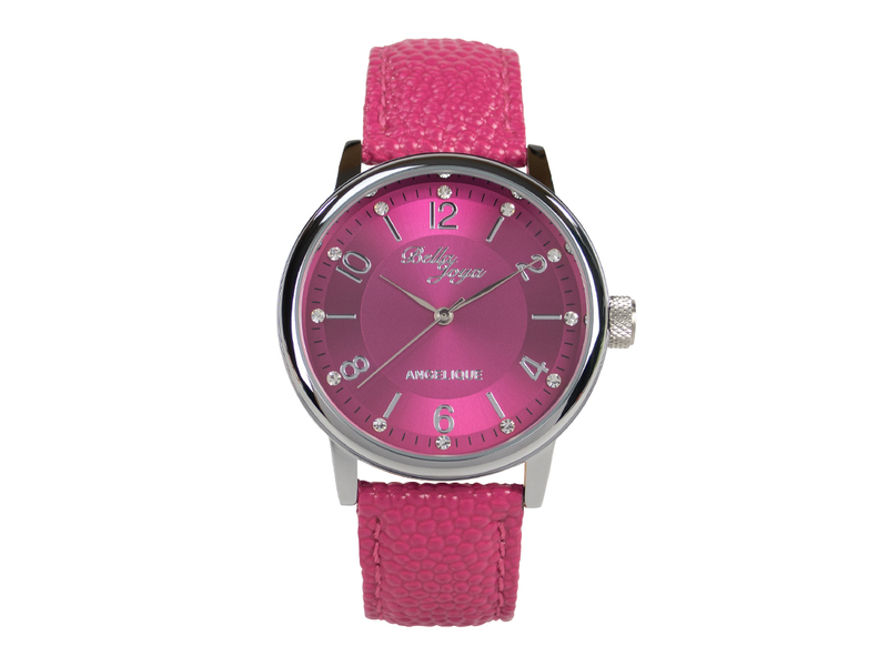 Angelique silber, elegante Mode-Uhr, Echtlederband magenta