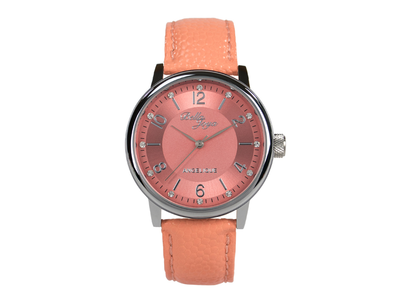 Angelique silber, elegante Mode-Uhr, Echtlederband apricot