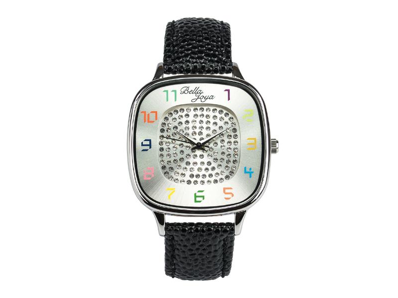 Capri, modische Trend-Uhr, Echtlederband schwarz