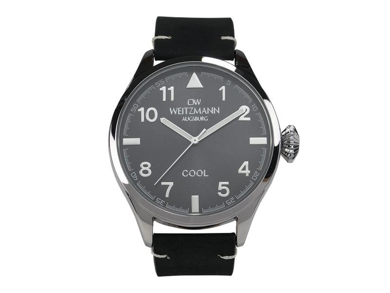 Cool, attraktive Trend-Uhr, silber, Echtlederband schwarz