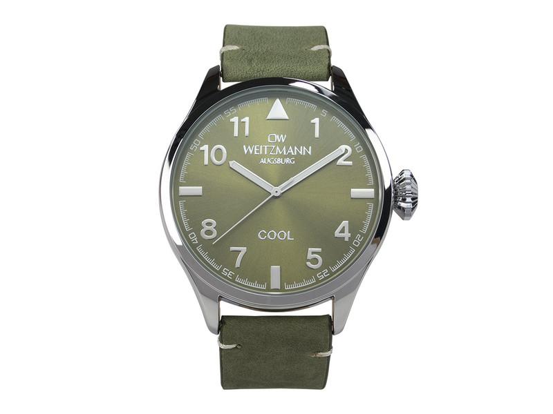 Cool, attraktive Trend-Uhr, silber, Echtlederband olive
