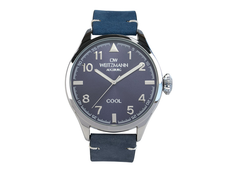 Cool, attraktive Trend-Uhr, silber, Echtlederband blau