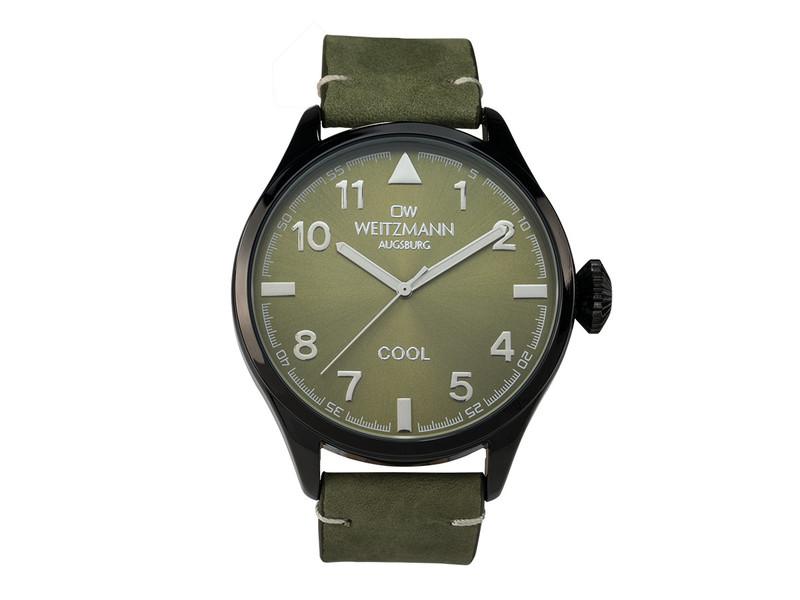 Cool, attraktive Trend-Uhr, schwarz, Echtlederband olive