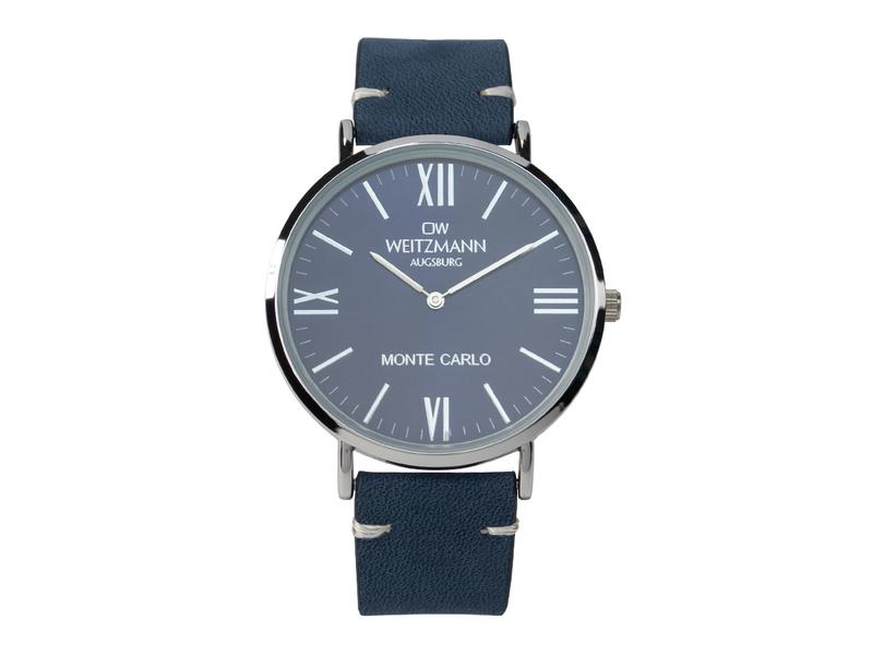 Monte Carlo, topaktuelle Mode-Uhr, mit blauem Zifferblatt, mit Echtlederband blau