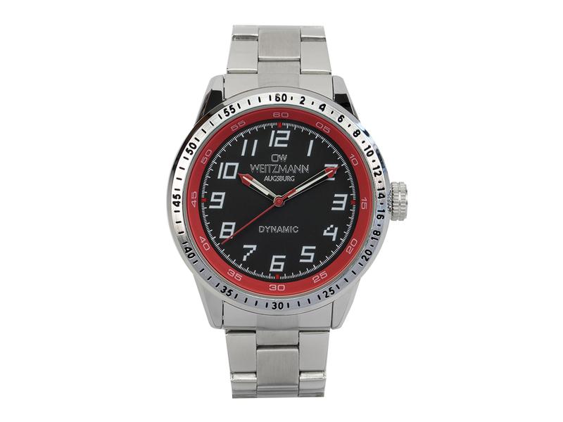 Dynamic, sportlich-elegante Herren-Uhr, schwarz/rot, Stahlband
