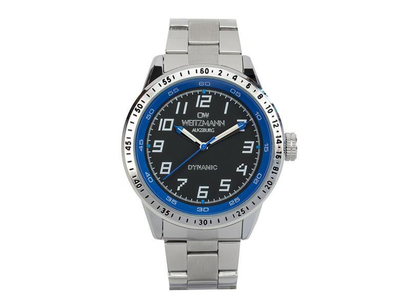 Dynamic, sportlich-elegante Herren-Uhr, schwarz/blau, Stahlband