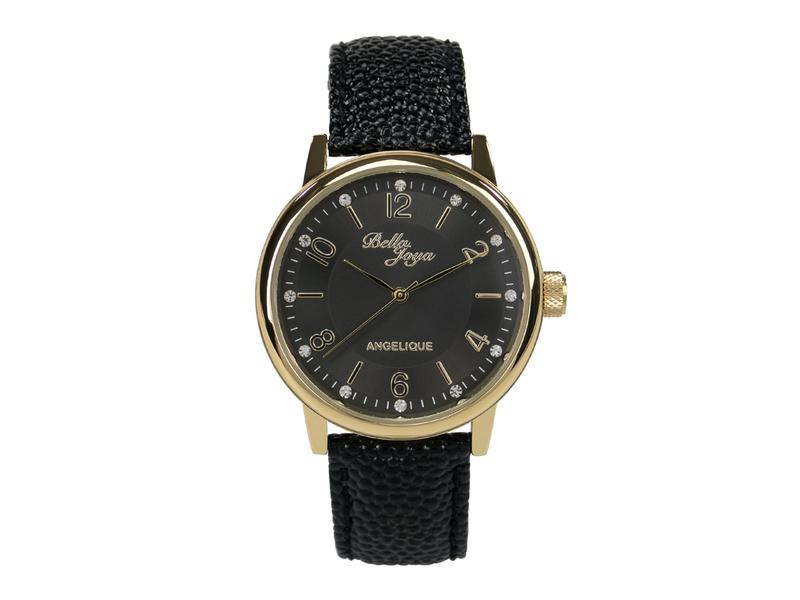 Angelique gold, elegante Mode-Uhr, Echtlederband schwarz