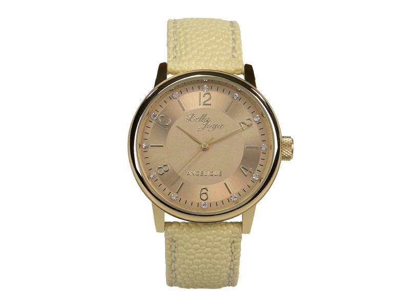 Angelique gold, elegante Mode-Uhr, Echtlederband beige