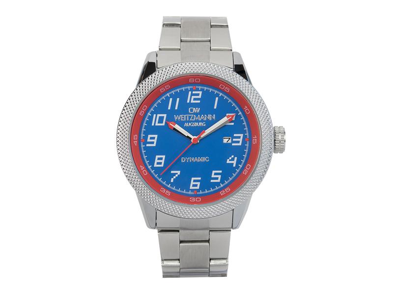 Dynamic, sportlich-elegante Herren-Uhr, blau/rot, geriffelte Lünette, Stahlband