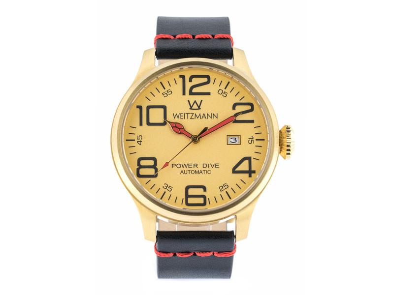 Power Dive, gold/gold, Echtlederband glatt in schwarz mit roter Naht