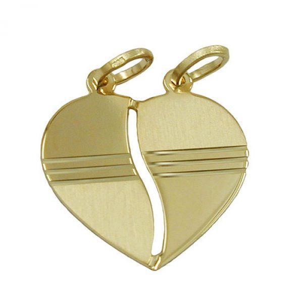 Anhänger, Herz diamantiert, 14K GOLD