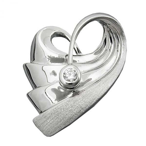 Anhänger, Herz mit Zirkonia, Silber 925