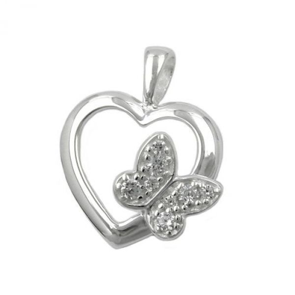 Anhänger, Herz/Schmetterling, Silber 925