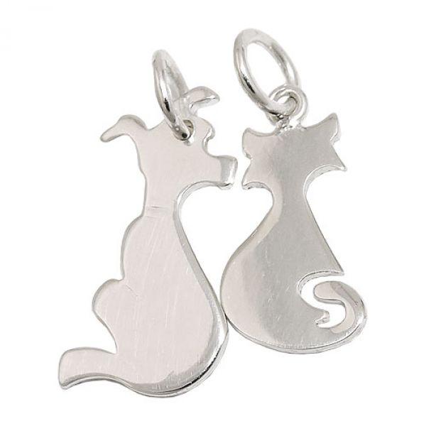 Anhänger, Hund und Katze, Silber 925