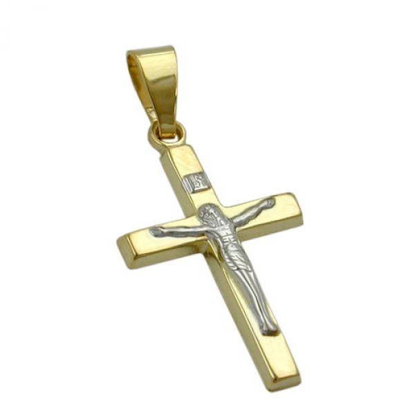 Anhänger, Jesuskreuz bicolor 9Kt GOLD
