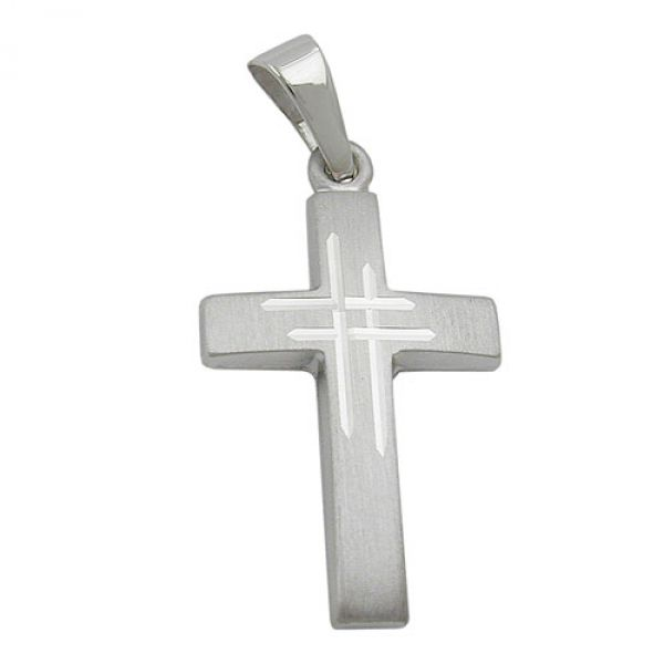 Anhänger, Kreuz, 9Kt Weißgold