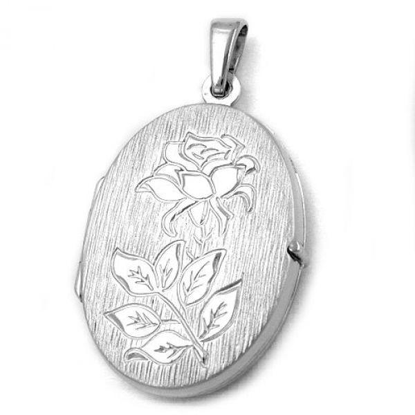 Anhänger, Medaillon Rose, Silber 925