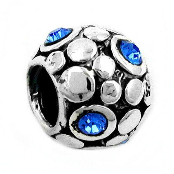 Anhänger, Perle-bead, blau, Silber 925