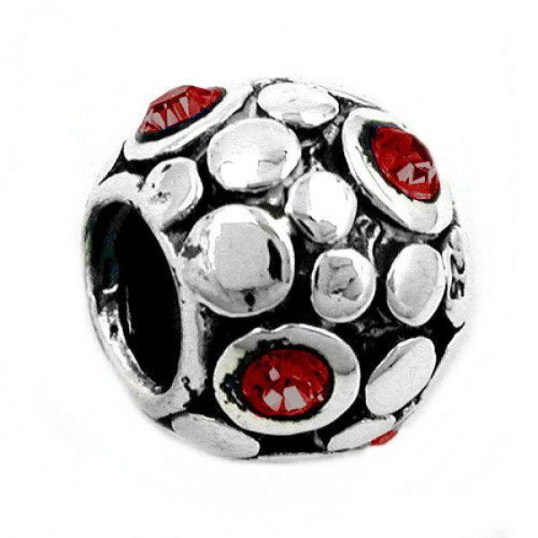 Anhänger, Perle-bead, rot, Silber 925