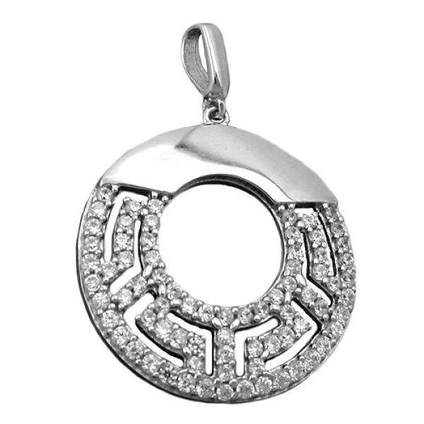 Anhänger, rund mit Zirkonias, Silber 925