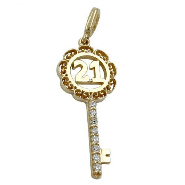 Anhänger, Schlüssel -21-, 9Kt GOLD