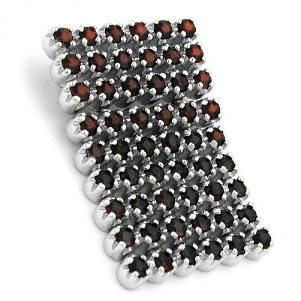 Anhänger, Steine dkl-rot Silber 925