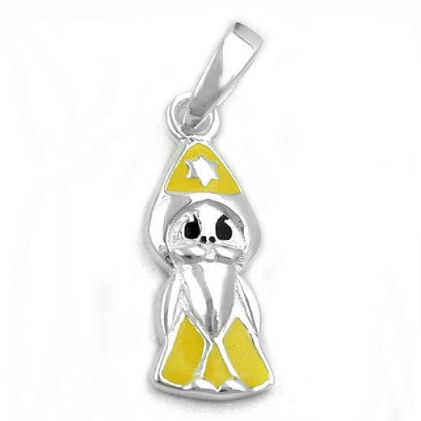 Anhänger, Zauberer gelb-sw, Silber 925