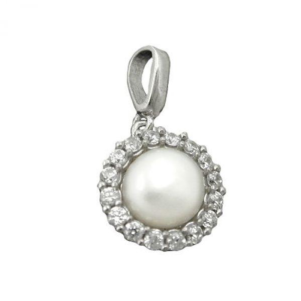 Anhänger, Zirkonia mit Perle, Silber 925