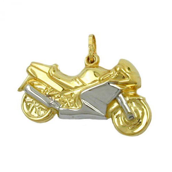 Anhänger 28mm Motorrad bicolor 9Kt GOLD