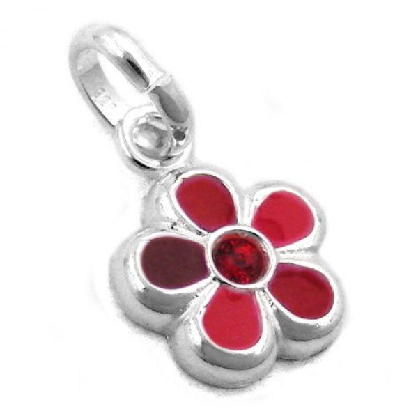 Anhänger Blume rot lackiert, Silber 925
