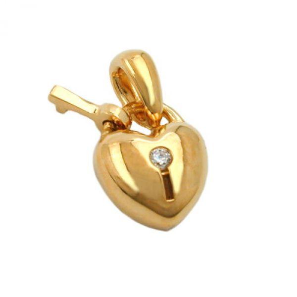 Anhänger Herz Schloss vergoldet 3 Micron