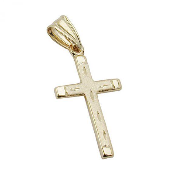 Anhänger Kreuz matt-diamantiert 9Kt GOLD