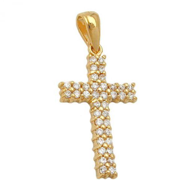 Anhänger Kreuz Zirkonia vergoldet